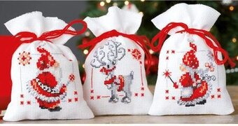Christmas Elves Bags - Set of 3 - Cross Stitch Kit