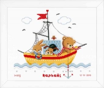 Boat Sailing Birth Sampler - Cross Stitch Kit