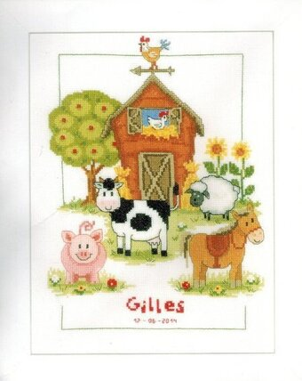 At the Farm Birth Record - Cross Stitch Kit