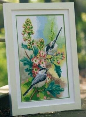 Chickadees and Blooms - Cross Stitch Kit
