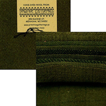 "Primitive Gatherings Wool 5"" Charm Pack Holly Green"