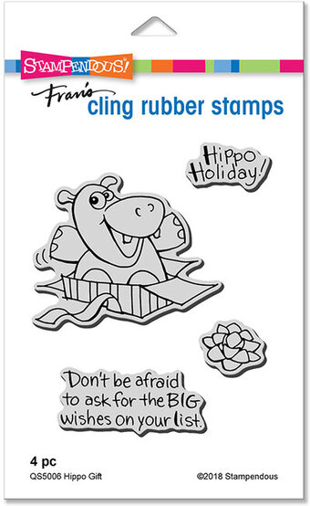 Hippo Gift - Christmas Cling Rubber Stamp