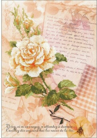 Love Letters Rose - Valentine's Cross Stitch Kit