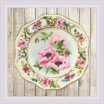 Pink Poppies - Pre-Printed Cross Stitch Kit