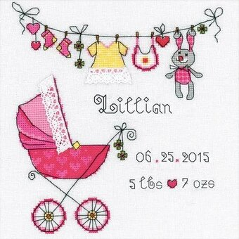 It's a Girl - Baby Birth Record Cross Stitch Kit