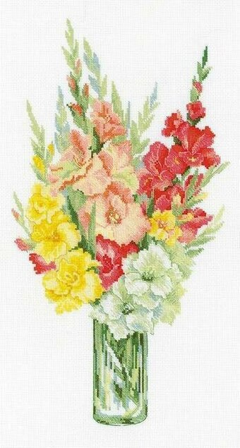 Bouquet Of Fladioli Flowers - Cross Stitch Kit