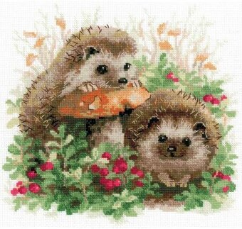 Hedgehogs In Lingonberries - Cross Stitch Kit