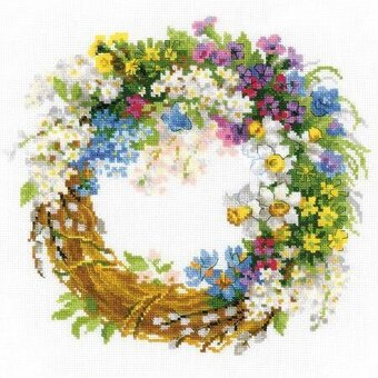 Wreath With Bird Cherry - Cross Stitch Kit
