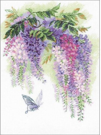Wisteria Flowers and Butterfly - Cross Stitch Kit