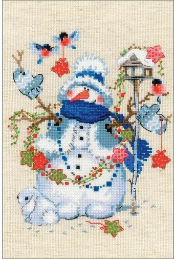 Christmas Eve Snowman - Cross Stitch Kit