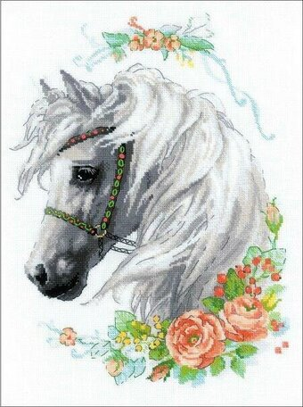 White Mane and Roses - Cross Stitch Kit