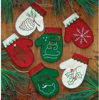 Mittens Christmas Ornament - Felt Applique Kit
