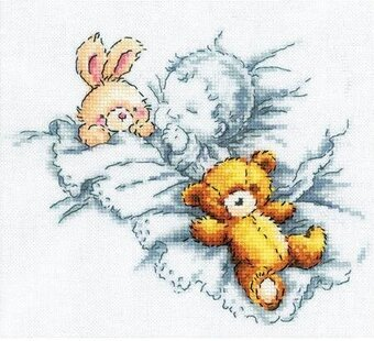 Baby W/Rabbit and Teddy Bear I - Cross Stitch Kit