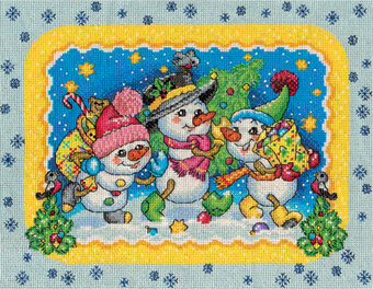 Cheerful Snowmen - Christmas Cross Stitch Kit