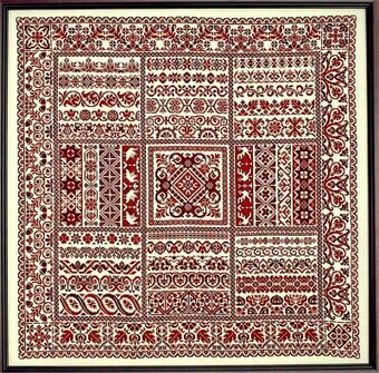 Rhapsody in Red Ribbon Sampler - Cross Stitch Pattern