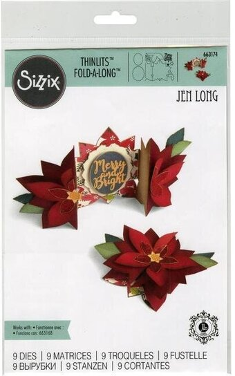 Sizzix Thinlits Die Set - Poinsettia Fold-A-Long Card