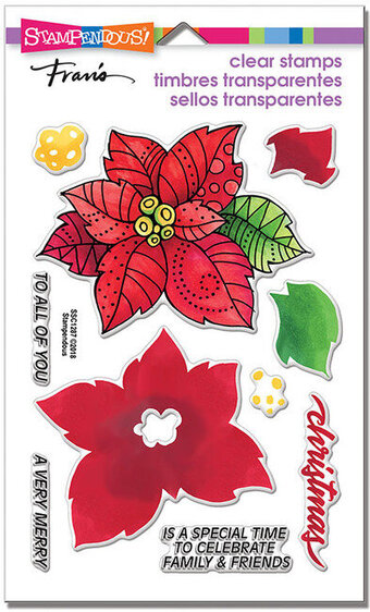 Poinsettia Parts Perfectly Clear Christmas Stamps
