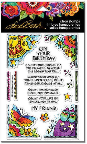 Laurel Burch Birthday Corners Perfectly Clear Stamps