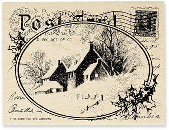 Snowy Postcard (Christmas) - Rubber Stamp