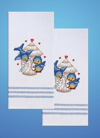 Bluebirds Kitchen Towels - Stamped Embroidery Kit