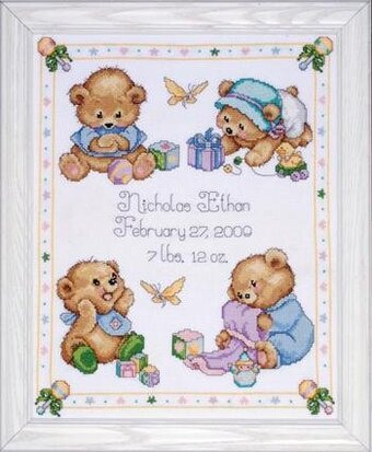 Baby Bears Birth Record - Counted Cross Stitch Kit