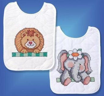 Noah's Ark Bib Pair - Stamped Cross Stitch Kit