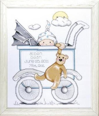 Baby Buggy Boy Birth Record - Cross Stitch Kit