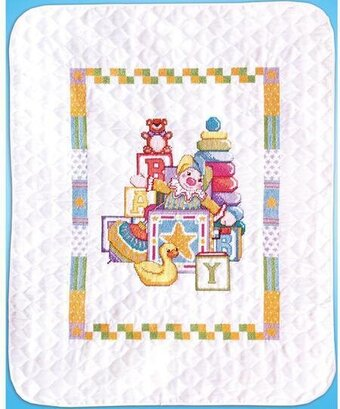 Jack in the Box Baby Quilt - Stamped Cross Stitch Kit