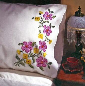 Tobin Fragrant Floral Pillowcase Pair Stamped Embroidery