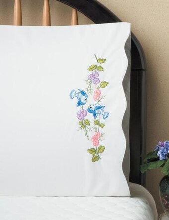 Blue Birds Pillowcase Pair - Stamped Embroidery Kit