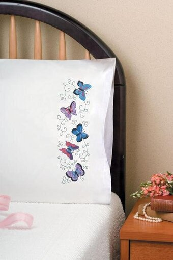 Butterflies Pillowcase Pair - Stamped Embroidery Kit