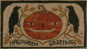 Halloween Greetings Crows - Cross Stitch Pattern