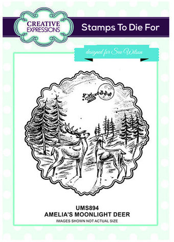 Amelia's Moonlight Deer - Christmas Precut Rubber Stamp