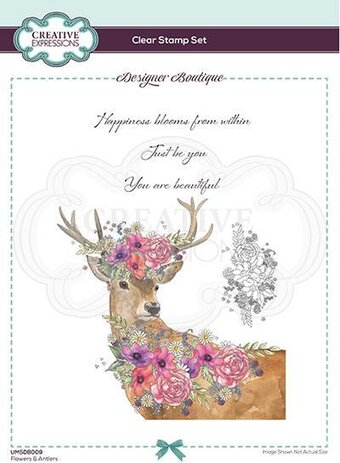 Flowers and Antlers - Designer Boutique - A6 Clear Stamp