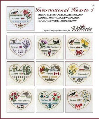 International Hearts 1 - Cross Stitch Pattern
