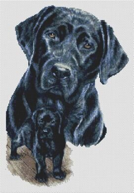 Black Lab & Pup - Cross Stitch Pattern