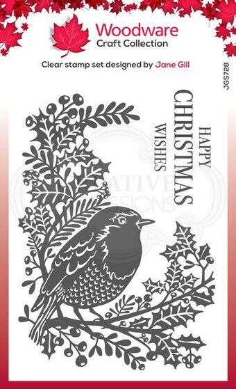 Robin and Holly - Christmas Clear Singles Stamp