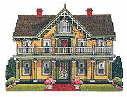 Country Victorian Cottage - Cross Stitch Pattern