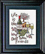 Good Wine Good Friends - Cross Stitch Pattern