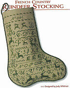 French Country Reindeer Stocking - Cross Stitch Pattern