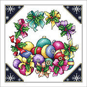 Ribbon Wreath and Ornaments - Cross Stitch Pattern