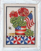 Patriotic Geranium - Cross Stitch Pattern