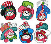 Snowman Mitten Ornaments - Cross Stitch Pattern