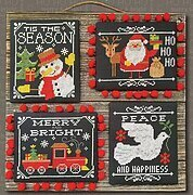 Chalkboard Christmas Greetings - Cross Stitch Pattern