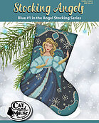 Stocking Angels - Blue - Cross Stitch Pattern