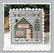 Peppermint Parlor - Snow Village 4 - Cross Stitch Pattern