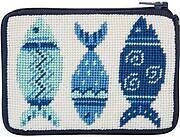 Coin Purse - Blue Fishes - Needlepoint Kit