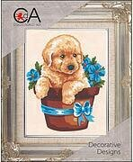 Puppy In Flower Pot - Stamped Needlepoint Kit