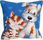 Les Amis Dog and Cat - Stamped Needlepoint Cushion Kit