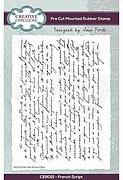 French Script Background - A6 Precut Rubber Stamp